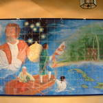 Hand painted tile depicting Christopher Columbus